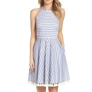 Eliza J Stripe Fit and Flare Dress